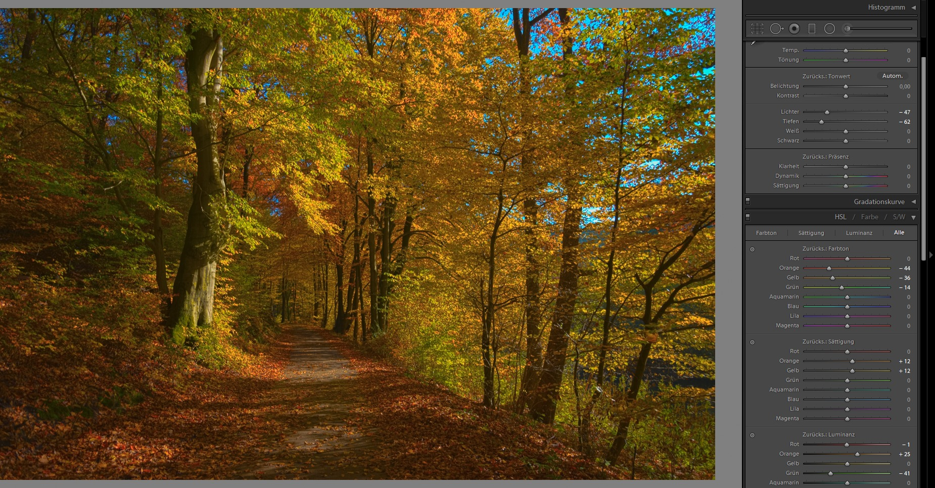 Step 3: Luminance and saturation – autumn is coming!